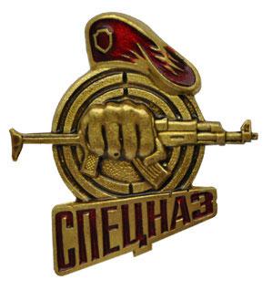 Значок Спецназ (кулак с автоматом), краповый берет - Военный резерв